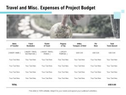 Travel And Misc Expenses Of Project Budget Ppt Powerpoint Presentation Professional Master Slide