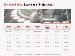 Travel And Misc Expenses Of Project Cost Ppt Powerpoint Presentation Summary Deck