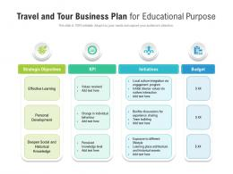 Travel And Tour Business Plan For Educational Purpose