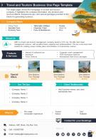 Travel And Tourism Business One Page Template Presentation Report Infographic PPT PDF Document