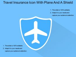 Travel Insurance Icon With Plane And A Shield