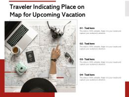 Traveler Indicating Place On Map For Upcoming Vacation