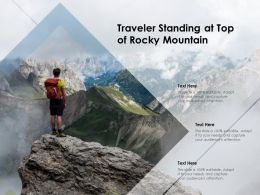 Traveler Standing At Top Of Rocky Mountain