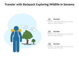 Traveler With Backpack Exploring Wildlife In Savanna