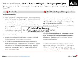 Travelers Insurance Market Risks And Mitigation Strategies 2018