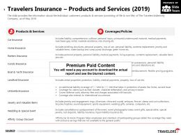 Travelers Insurance Products And Services 2019
