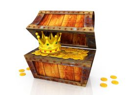 Treasure Box With Crown And Gold Coins Stock Photo
