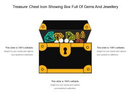 Treasure Chest Icon Showing Box Full Of Gems And Jewellery