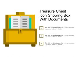 Treasure Chest Icon Showing Box With Documents
