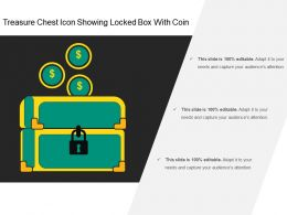 Treasure Chest Icon Showing Locked Box With Coin