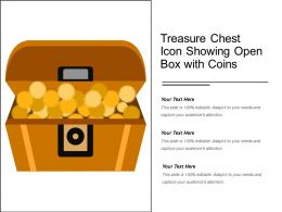 Treasure Chest Icon Showing Open Box With Coins