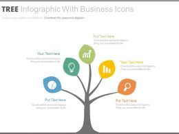 Tree Infographics With Business Icons Flat Powerpoint Design