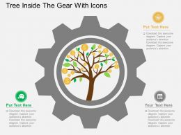Tree Inside The Gear With Icons Flat Powerpoint Desgin