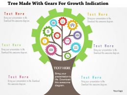 Tree Made With Gears For Growth Indication Flat Powerpoint Design