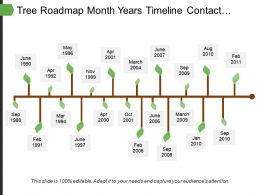 tree_roadmap_month_years_timeline_contact_analysis_solution_strategy_target_planning_marketing_Slide01