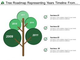 Tree Roadmap Representing Years Timeline From 2009 To 2017 Using Boards