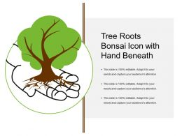 Tree Roots Bonsai Icon With Hand Beneath