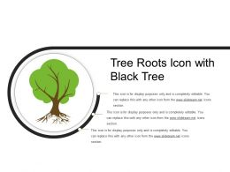 Tree Roots Icon With Black Tree