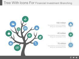 Tree With Icons For Financial Investment Branching Powerpoint Slides