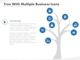 Tree With Multiple Business Icons Flat Powerpoint Design