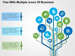 Tree With Multiple Icons Of Business Flat Powerpoint Design