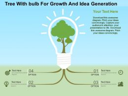 Tree Withbulb For Growth And Idea Generation Flat Powerpoint Design