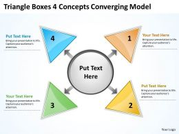 triangle boxes 4 concepts converging model Circular Flow Process PowerPoint templates