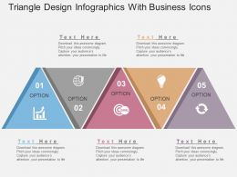 Triangle Design Infographics With Business Icons Flat Powerpoint Design