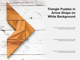 Triangle Puzzles In Arrow Shape On White Background