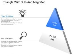 Triangle With Bulb And Magnifier Powerpoint Template Slide