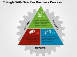 Triangle With Gear For Business Process Flat Powerpoint Design