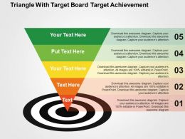 Triangle With Target Board Target Achievement Flat Powerpoint Design