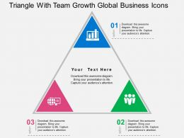Triangle With Team Growth Global Business Icons Flat Powerpoint Design