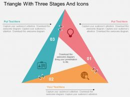Triangle With Three Stages And Icons Flat Powerpoint Design