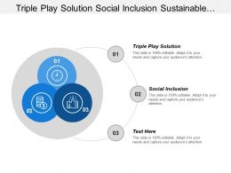 Triple Play Solution Social Inclusion Sustainable Inclusive Growth