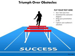 triumph over obstacles sports man silhouette running and jumping hurdles powerpoint diagram templates 712