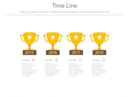 Trophies And Years For Success Timeline Diagram Powerpoint Slides