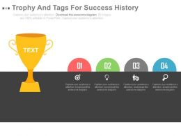 Trophy And Tags For Success History Representation Powerpoint Slides