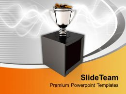 Trophy Cup Full Of Coins On Stylish Background Powerpoint Templates Ppt Themes And Graphics 0113