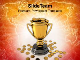 trophy full of golden coins powerpoint templates ppt themes and graphics 0213