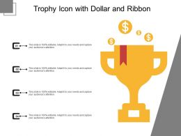 Trophy Icon With Dollar And Ribbon