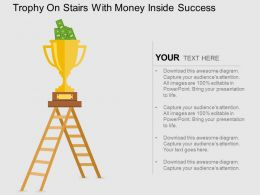 Trophy On Stairs With Money Inside Success Flat Powerpoint Design