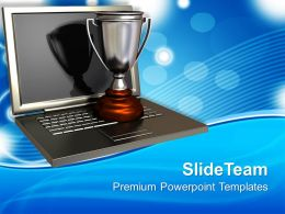 Trophy On Top Of An Open Laptop Powerpoint Templates Ppt Themes And Graphics