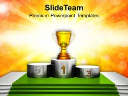 Trophy On Winner Podium PowerPoint Templates PPT Themes And Graphics 0213
