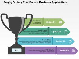 Trophy Victory Four Banner Business Applications Flat Powerpoint Design