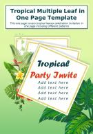 Tropical Multiple Leaf In One Page Template Presentation Report Infographic PPT PDF Document
