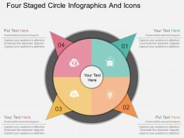 tu Four Staged Circle Infographics And Icons Flat Powerpoint Design