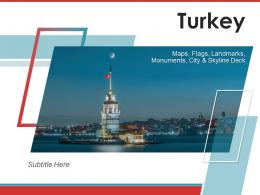 Turkey Maps Flags Landmarks Monuments City And Skyline Deck Powerpoint Template