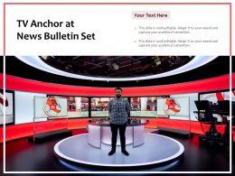 TV Anchor At News Bulletin Set