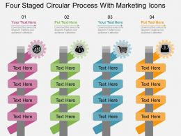 tv Four Staged Circular Process With Marketing Icons Flat Powerpoint Design